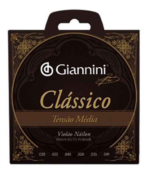 Encordoamento Violão Nylon Giannini Clássico Tensão Média