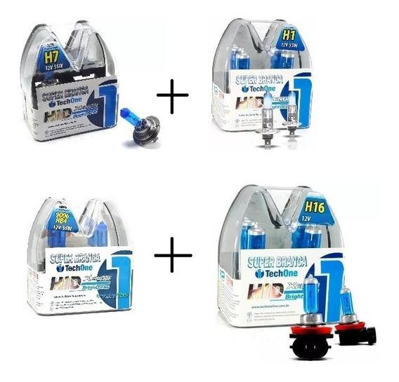 Kit Lâmpadas Super Branca H1+h7+hb4+h16 Tech One