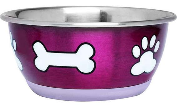 Comedouro Aço Inox Metalico 800ml Para Cães - Rosa E Azul
