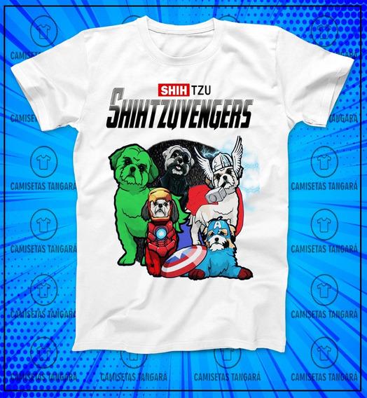 Camiseta Avengers Shihtzu Vingadores Cão Pet Heróis