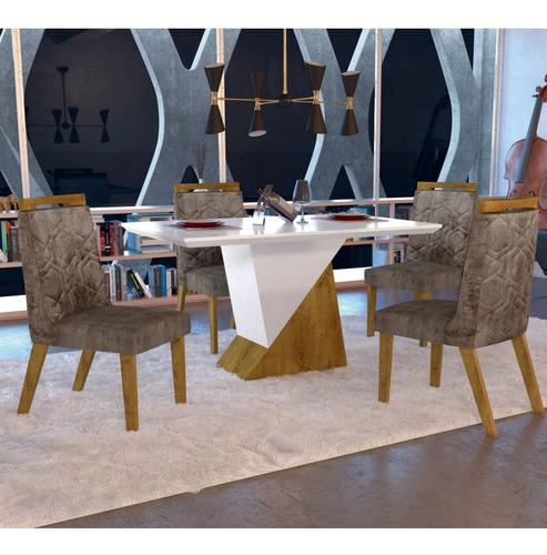 Mesa De Jantar 4 Cadeiras Juá Yescasa Canela/off F