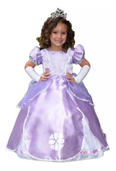 Vestido Princesa Sofia Luxo Infantil Armado + Tiara E Luva