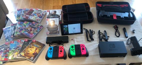 Nintendo Switch + 17 Jogos + Acessórios