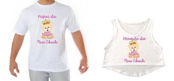 Kit Cropped Camiseta Chá De Bebê Gestante Ursinha Princesa