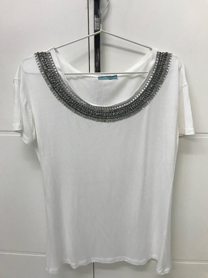 Camiseta Feminina Com Gola Bordada, Marca Flor, Tamanho P