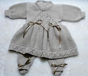 Kit Vestido Calça E Body Com Babado Roupas Para Bebê Ref.192