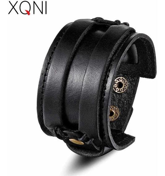 Pulseira Bracelete Masculino Aço Couro Estilo Luxo Promoção