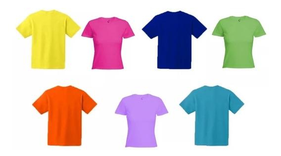 Franelas Unicolores Dama Y Caballeros 2 Unds 100% Algodon