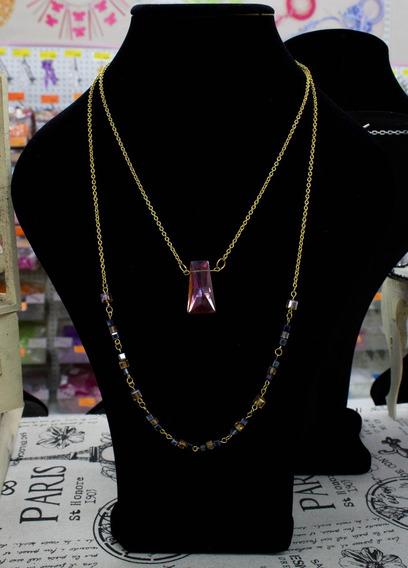 Collar De Cristales Color Canela Y Zafiro