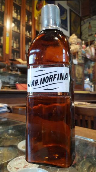 Antiguo Frasco De Farmacia De Morfina Con Vasito. 11557