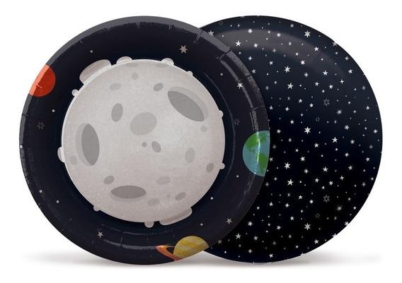 8 Pratos Redondo Bolo/doces Astronauta 18cm Dec. Festas