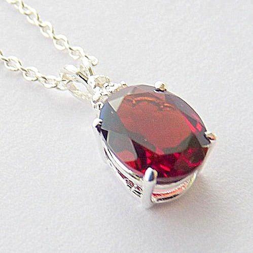 Pingente E Corrente De Prata 925 Com Granada E Diamante 7046