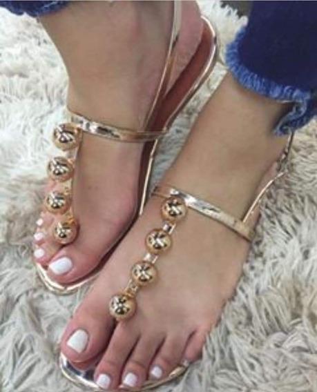 Sandália Rasteira Feminina Dourada E Outros