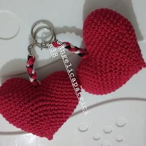 Kit De 5 Chaveiros De Coração Amigurumi