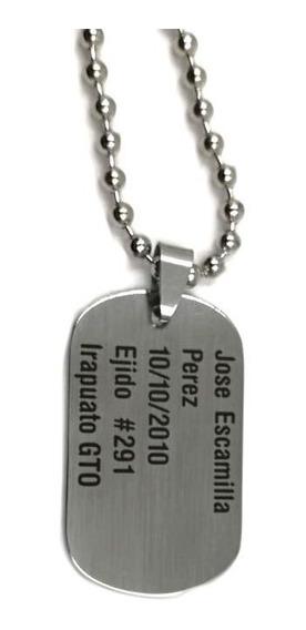 Placa Militar Niño Identificacion Grabado Y Cadena Gratis