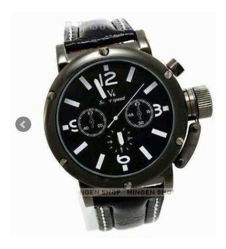Relógio V6 Super Speed Com Pulseira De Couro