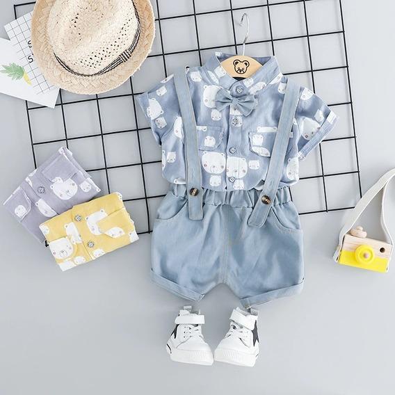 Ropa Casual Bebés Niño Moda Conjunto Camisa Ositos Short