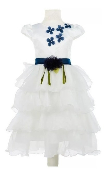 Vestido Fiesta Importado De Nena Con Tul Volado Y Flor.