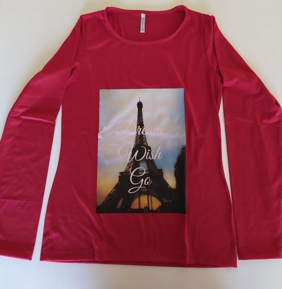 Remera Roja De Modal Y Lycra Dama , Estampa Torre Eiffel