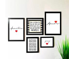 Kit 5 Quadros Decorativos Amor Família Frases Sala Promoção