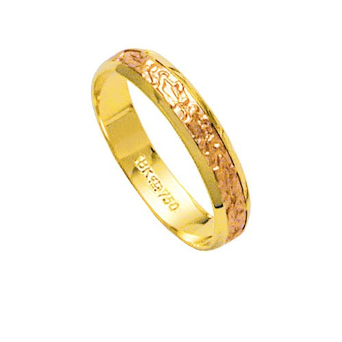 Aliança De Ouro 18k 750 E Ouro Vermelho Largura 4.00mm Altur