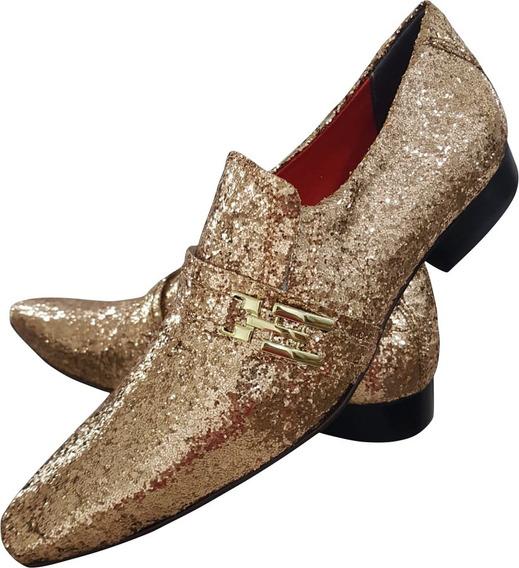 Sapato Masculino Glitter Dourado Especial Festa Cod. 451