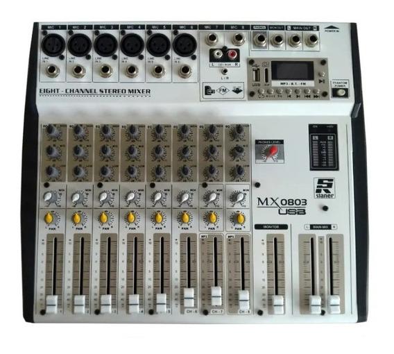 Mixer Mesa De Som 8 Canais Staner Usb/fm/bt Mx-0803