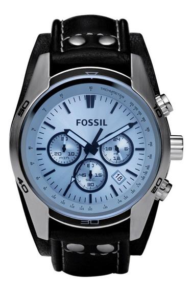 Reloj Caballero Fossil Ch2564 Color Negro De Piel