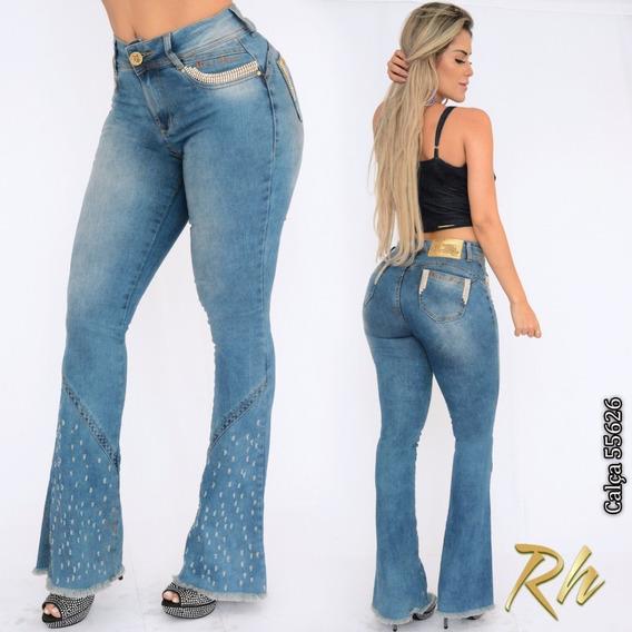 Calça Jeans Feminina Rhero Flare Tamanho 40 De Luxo C Strass