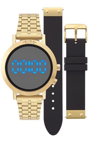 Relógio Euro Digital Led Feminino Eubj3407aa/t4p Dourado Nf