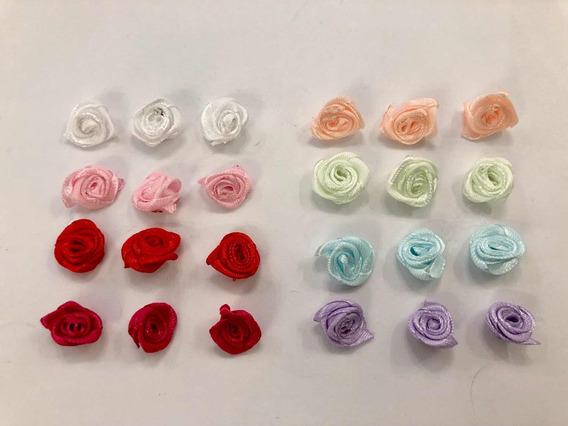 100 Flores De Raso Rococo. 1cm A 13mm. Súper Oferta!
