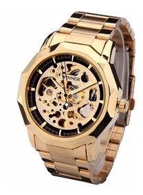 Relógio Analógico Winner Dourado Esq Cromado - Frete Gratis