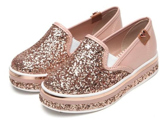 Tênis Infantil Glitter Meninas Slip On Calce Fácil Molekinha