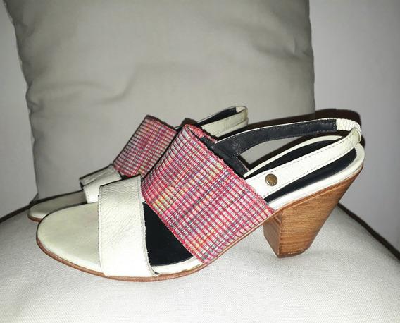 Sandalias Mujer Cuero Natural Combinadas