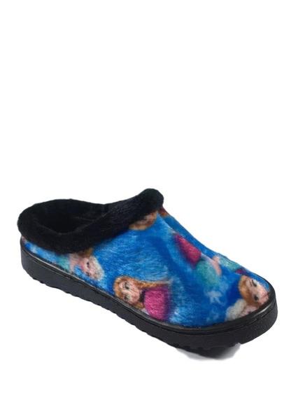 Pantufa Infantil Feminina Frozen Mule Chinelo Azul Desenhos