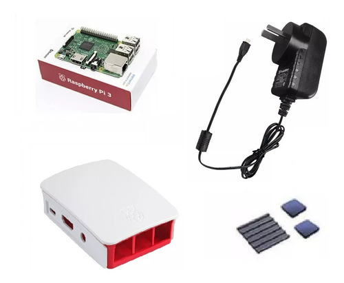 Imagen 1 de 7 de Kit Raspberry Pi 3 + Dis + Fuente 2.5a Gabinete Blanco Orig