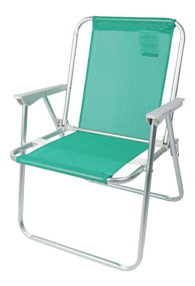 Cadeira De Praia Alta Alumínio Verde - A/casa