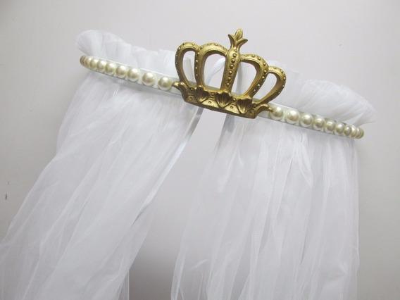 Dossel Coroa Imperial Dourado Com Pérolas Com Voil