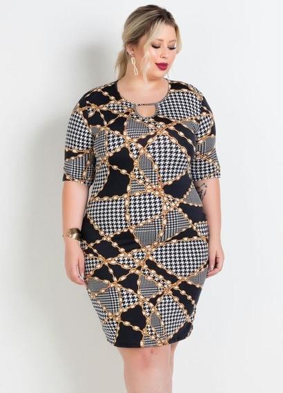 Vestido Plus Size Estampado Com Elastano Roupas Femininas