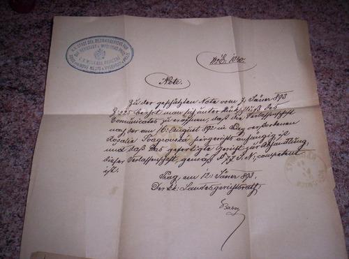 Documento Antiguo, Año 1893. Ciudad De Praga