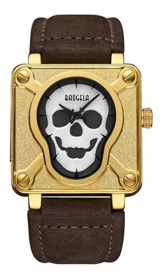 Reloj Hombre Baogela Aviador Tactico Skull Bell Dorado