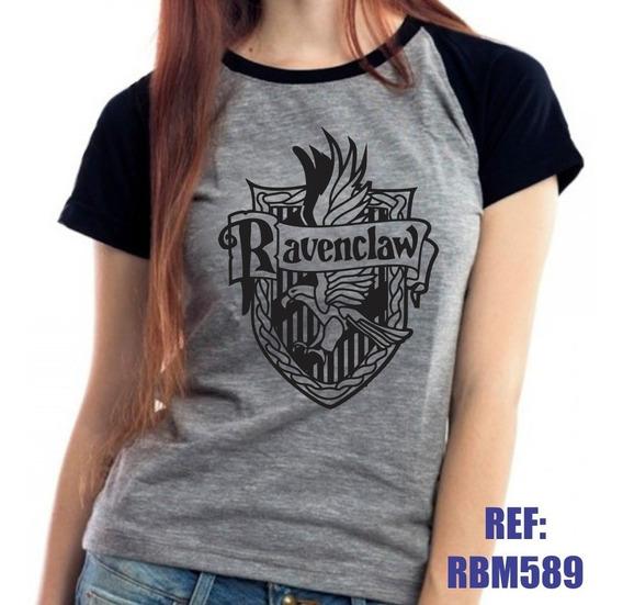 Camiseta Raglan Baby Look Harry Potter Corvinal Mescla