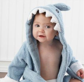 Roupão De Banho Baby Shark Tubarão Bebê Até 1 Ano De Idade