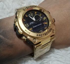 Relógio Todo Em Aço Dourado Inoxidável G Shocy Frete Grátis