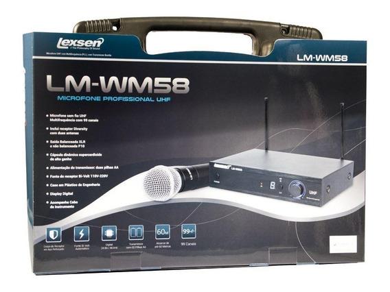 Microfone Sem Fio De Mão Uhf Lexsen Lm-wm58 Multifrequência