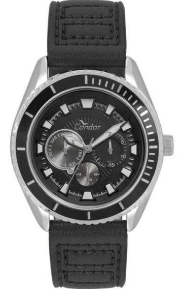 Relógio Condor Masculino Co6p29io/2p Couro Preto