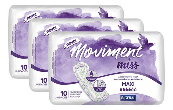 Kit Absorvente Para Incontinência Moviment Miss Maxi - 30 Un