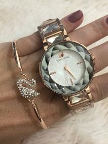 Kit Swarovski - Branco / Relógio E Bracelete