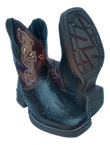 Bota Masculina Texana Country Bico Quadrado Couro Cano Médio