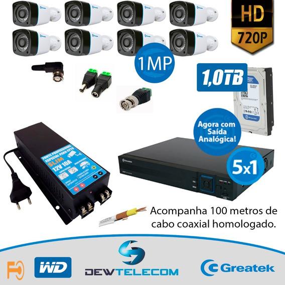 Kit Cftv 8 Cameras Completo Multi Hd 720p